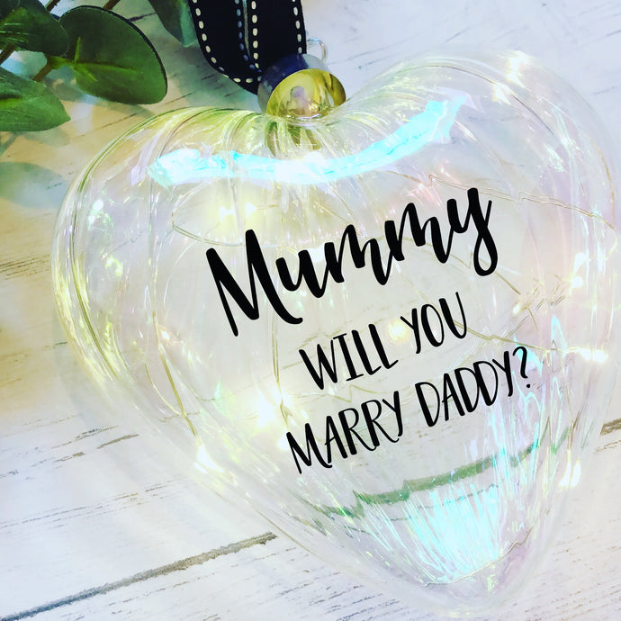Light Up Christmas bauble / Large 15cm / Glass Heart / Personalised