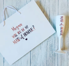 Load image into Gallery viewer, 'Will you be my Bridesmaid?' Bag & Flute Gift Set