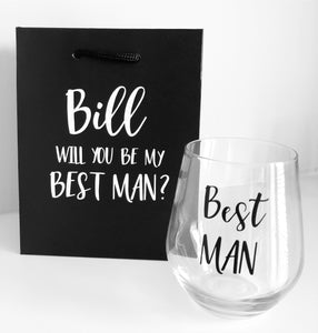 SET OF 2 - BAG & GLASS / Groomsman Best Man Whiskey Glass