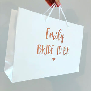 'Bride to be' Luxury gloss bag, with rope handles / Personalised gift bag