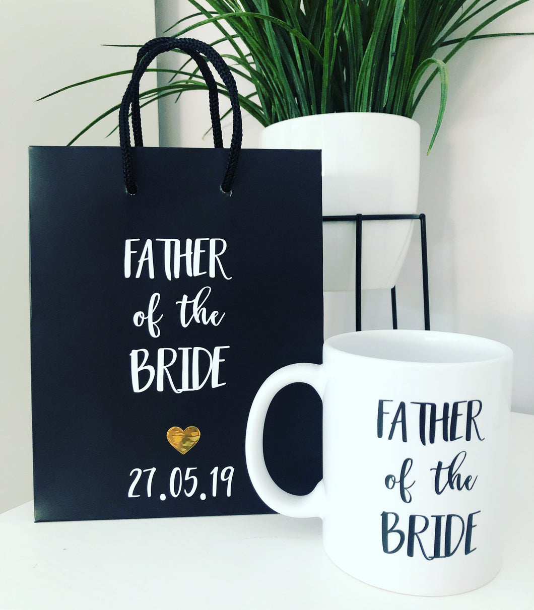 SET OF 2 - Black Matte 'Father of the Bride' Gift Bag & Mug