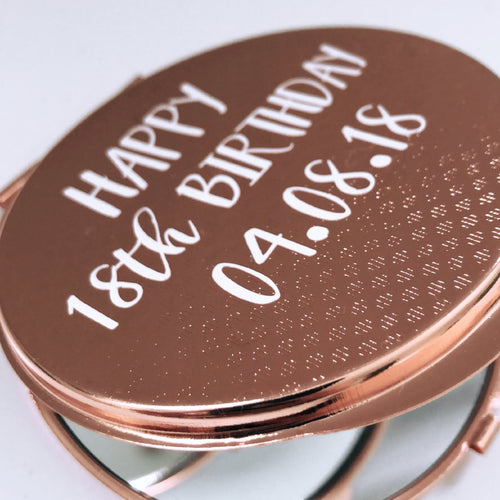 Personalised Birthday Rose Gold Compact Mirror