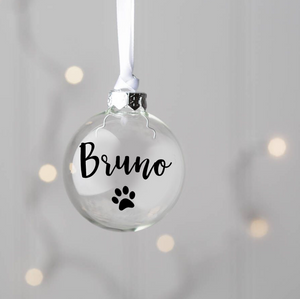 Personalised 8cm Glass Christmas Bauble