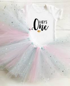 SET OF 2 - First Birthday Tutu & Baby Grow Set / Cake Smash / Tutu / One