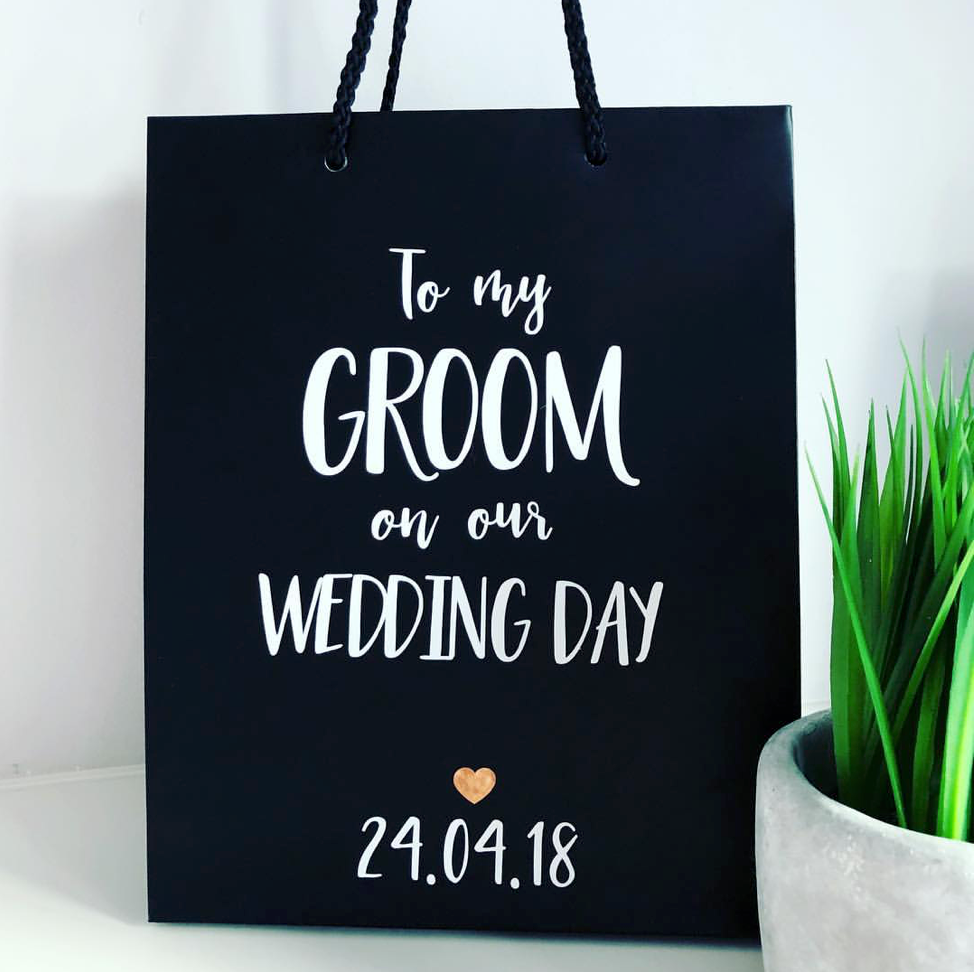 Black Matte 'To My Groom' Gift Bag