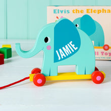 Load image into Gallery viewer, Elephant Pull Along Wooden Toy