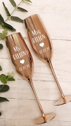 SET OF 2- Rose Gold Champagne Prosecco Flutes