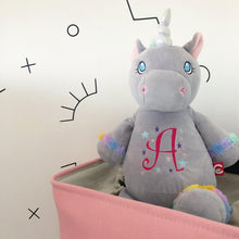 Load image into Gallery viewer, Unicorn Cubbie Personalised with Letter
