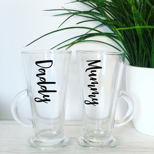Set of 2 personalised Latte Glasses