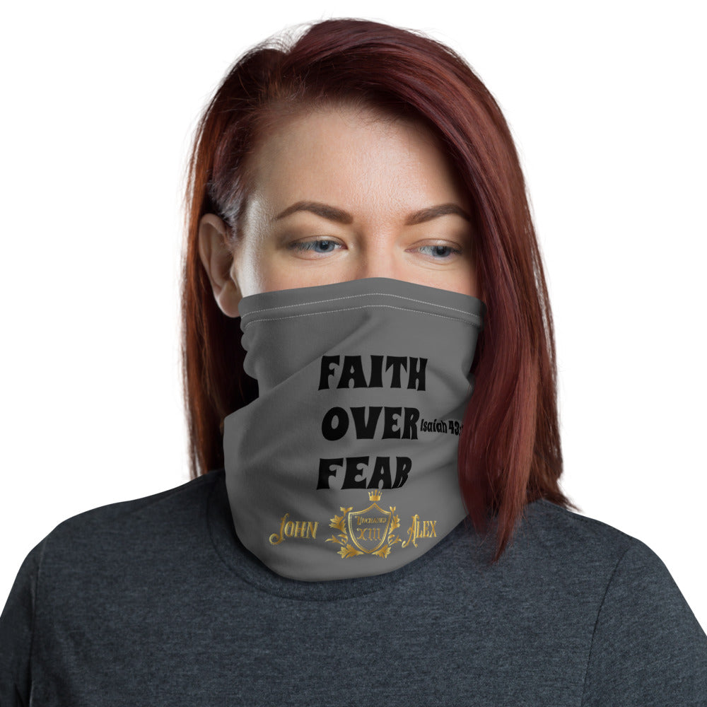 'Faith Over Fear' Isaiah 43:1 JohnAlex XIII Face mask neck Gaiter