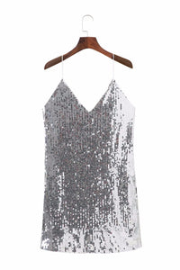 SLAYING SILVER SEQUIN MINI DRESS