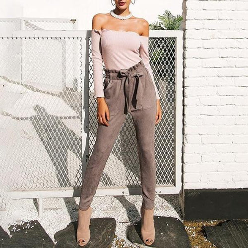 SUEDE HIGH WAISTED PANTS
