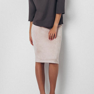 NO EXCUSES SUEDE MIDI SKIRT
