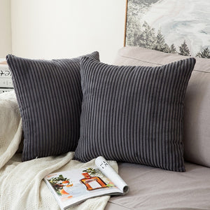 VELVET RIBBED CUSHION COVER