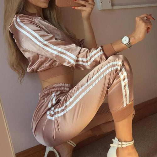 SATIN STRIPED TRACKSUIT TWO PIECE