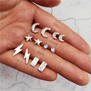 CRYSTAL EARRING SET - 6 PIECES