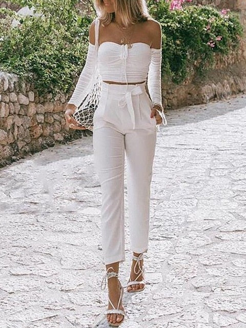 RUCHED OFF SHOULDER CROP TOP