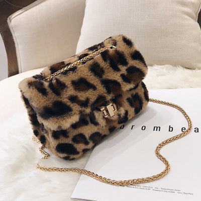 CHAINED FAUX FUR CROSSBODY BAG - LEOPARD