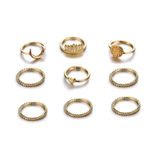 Load image into Gallery viewer, GOLD BOHEMIAN RINGS SET - 9PCS