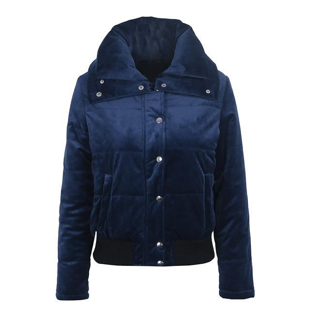 NAVY BLUE VELVET PUFFER JACKET