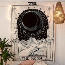 Load image into Gallery viewer, THE MOON TAROT CARD TAPESTRY