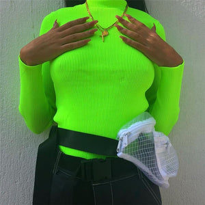 NEON TURTLENECK TOP