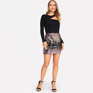 STRIKING SEQUIN MINI SKIRT