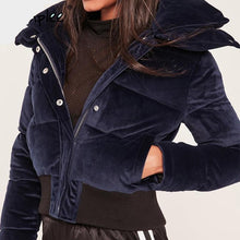 Load image into Gallery viewer, NAVY BLUE VELVET PUFFER JACKET