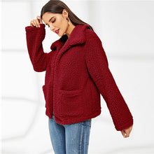 Load image into Gallery viewer, BURGUNDY TEDDY COAT
