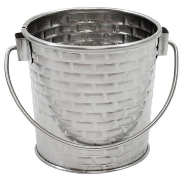 ROUND PAIL WITH HANDLE. STAINLESS STEEL CONSTRUCTION WITH BRICK PATTERN TEXTURE. CAP:9 OZ,DIM: 7.9 X8.255 - Mabrook Hotel Supplies