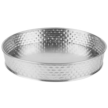 ROUND DINER PLATTER. STAINLESS STEEL CONSTRUCTION WITH BRICK PATTERN TEXTURE. 21 X4 CM. - Mabrook Hotel Supplies
