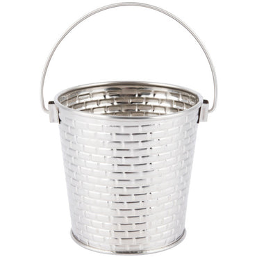 ROUND PAIL WITH HANDLE. STAINLESS STEEL CONSTRUCTION WITH BRICK PATTERN TEXTURE.  CAP: 16.5 OZ,  DIM: 10.46 X9.52cm