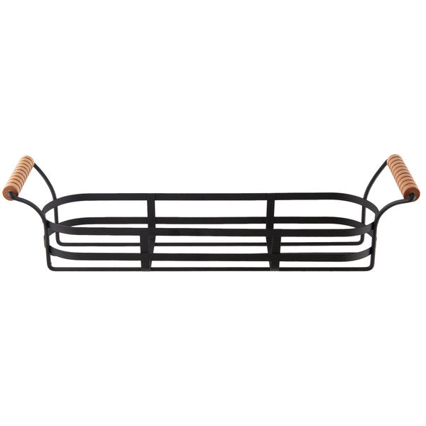 TABLECRAFT BLACK COATED WIRE RACK FOR CJS12 RESEALABLE JARS WITH WOOD HANDLE - Mabrook Hotel Supplies