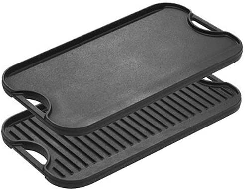LODGE REVERSIBLE CAST IRON  GRIDDLE AND GRILL PAN WITH HANDLES