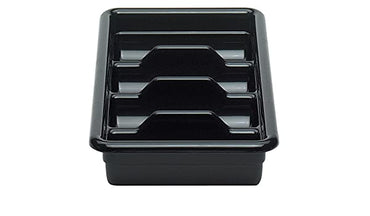 CAMBRO 1120CBP110 BLACK POLY CAMBOX FOUR COMPARTMENT CUTLERY BUS BOX