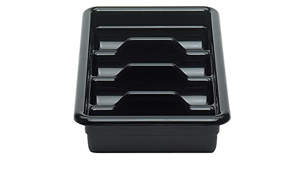 CAMBRO 1120CBP110 BLACK POLY CAMBOX FOUR COMPARTMENT CUTLERY BUS BOX - Mabrook Hotel Supplies