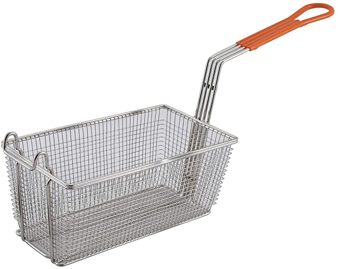 """WIRE FRY BASKET 12-7/8X6-1/2X5-3/8"""" RED HANDLE"" - Mabrook Hotel Supplies"