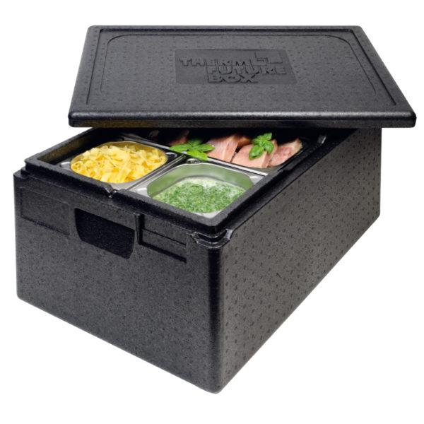 PREMIUM THERMO FUTURE BOX, GN 1/1,LID INCLUDED,COLOR: BLACK, CAPACITY: 21 L, WITH ERGONOMIC HANDLE AND SPACE FOR LABEL SYSTEM. INSIDE DIM: 538X337X117. OUTSIDE DIM: 600X400X180 MM. - Mabrook Hotel Supplies