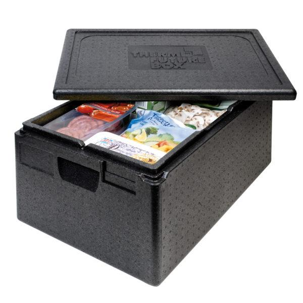 PREMIUM THERMO FUTURE BOX, GN 1/1,LID INCLUDED,COLOR:BLACK, CAPACITY: 30 L, ERGONOMIC HANDLE AND SPACE FOR LABEL SYSTEM. INSIDE DIM: 538X337X167 MM, OUTSIDE DIM: 600X400X230 MM. - Mabrook Hotel Supplies