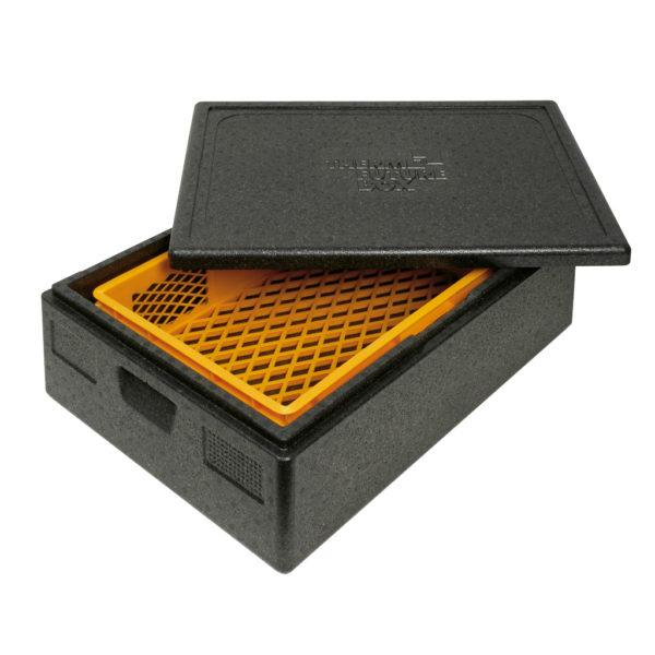 ALLROUND THERMO FUTURE BOX LID INCLUDED,COLOR: BLACK, CAPACITY: 42 L, WITH ERGONOMIC HANDLES. INSIDE DIM: 625X425X160 MM. OUTSIDE DIM: 685X485X220 MM.