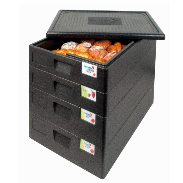 SALTO THERMO FUTURE BOX, 60X40,WITHOUT LID,(LID CODE: 12693),COLOR: BLACK, CAPACITY: 18 L, WITH ERGONOMIC HANDLES AND SPACE FOR LABELING. INSIDE DIM: 625X425X80 MM. OUTSIDE DIM: 685X485X125 MM. - Mabrook Hotel Supplies