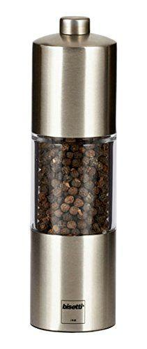 BISETTI ACRYLIC MATT FINISH STAINLESS STEEL PEPPER MILL - 16 CM - Mabrook Hotel Supplies
