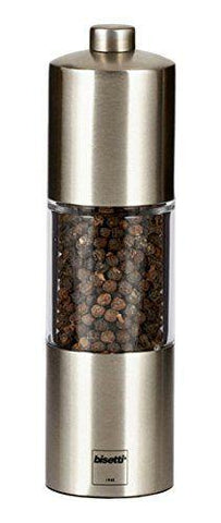BISETTI ACRYLIC MATT FINISH STAINLESS STEEL PEPPER MILL - 16 CM