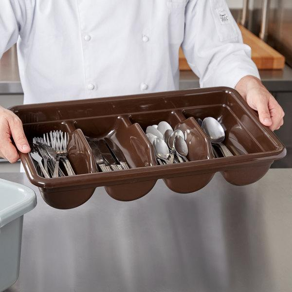 """POLYETHYLENE 4 COMPARTMENT CUTLERY BOX, DIA:28.9X52X9.5 CM."" - Mabrook Hotel Supplies"
