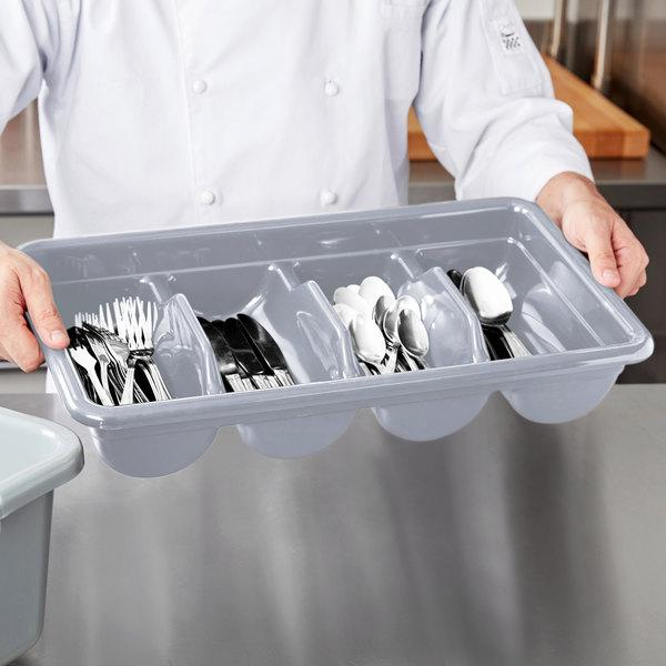 CAMBOX CUTLERY 4COMP PLY - LTGY - Mabrook Hotel Supplies