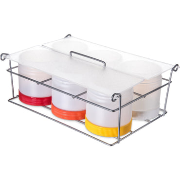 "Store 'N Pour® Condiment Caddy, 12""L x 9""W x 4-3/4""H, (6) wide mouth with acrylic cover, polyethylene, clear - Mabrook Hotel Supplies"