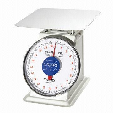 """MECHANICAL DIAL SCALE, SS. FLAT PLATE, CAP: 5 KG, DIV: 20 G,"" - Mabrook Hotel Supplies"