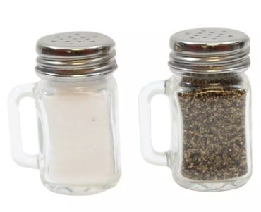 SALT & PEPPER SHAKERS MINI MASON WITH S/S TOP, VINTGE MASON JAR GLASS DESIGN,DIM:1.5 OZ (PRICE PER PIECE) - Mabrook Hotel Supplies