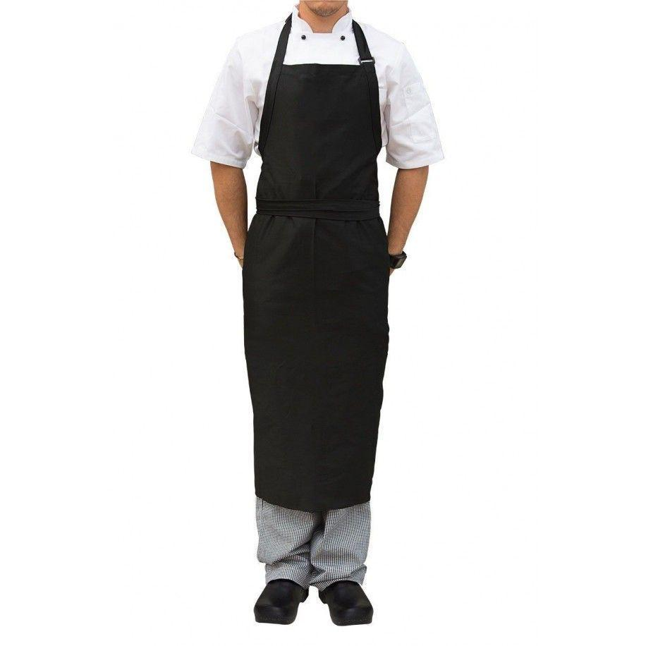 Large Black Bib Apron with Adjustable Neck Buckle. - Mabrook Hotel Supplies