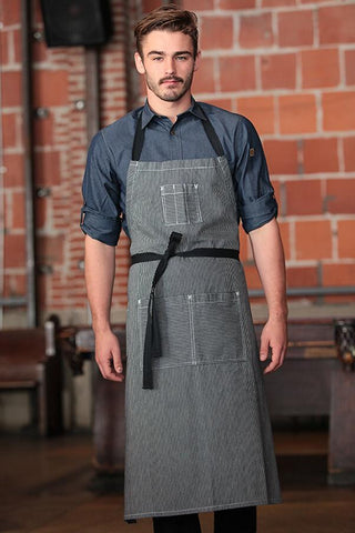 PORTLAND DENIM STRIPE CHEF APRON,COLOR:INDIGO BLUE - Mabrook Hotel Supplies
